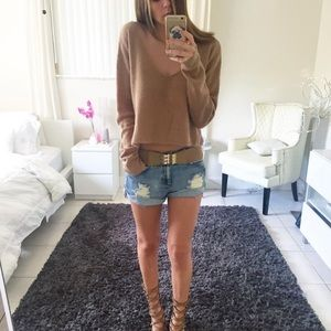 OLIVACEOUS tan cropped sweater